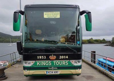 KC14 ABC at Glengarriff ferry jetty on the Kings Coaches Irish tour