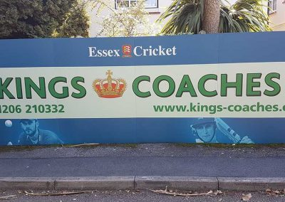 Kings Coaches advertising board at the County Cricket Ground Essex